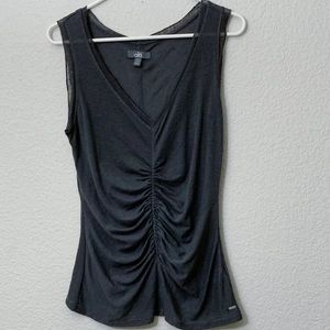 Alo Yoga Rusched V Neck Sleevless Mesh Detail Top